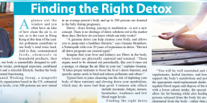 Finding the right detox – an article featured in The Standard